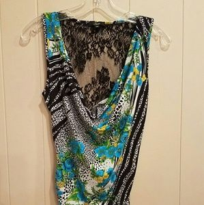 Bisou Bisou Draped Lace Back Sleeveless Top Size M